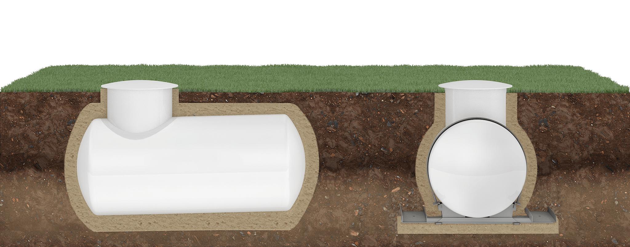 Modell eines unterirdisch installierten Flüssiggastanks in Seitenansicht und in Frontansicht mit ausklappbarer Auftriebssicherung.