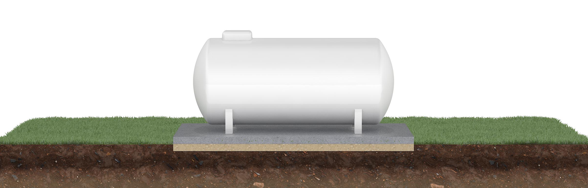 Grafische Darstellung eines Flüssiggastanks (oberirdisch aufgestellt).