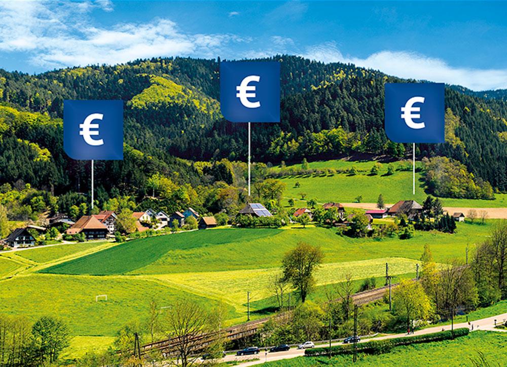 Landschaft mit Hinweisen (Eurozeichen), die anzeigen, wo Heizungsmodernisierungen gefördert werden können.