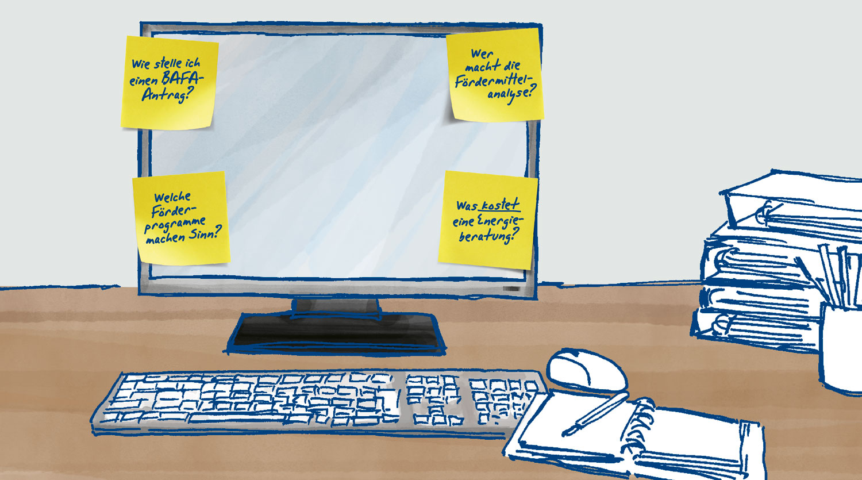 Zeichnung: Arbeitsplatz mit Monitor, an dem Post-its mit Erinnerungen rund um die Heizungsmodernisierung angeklebt sind.