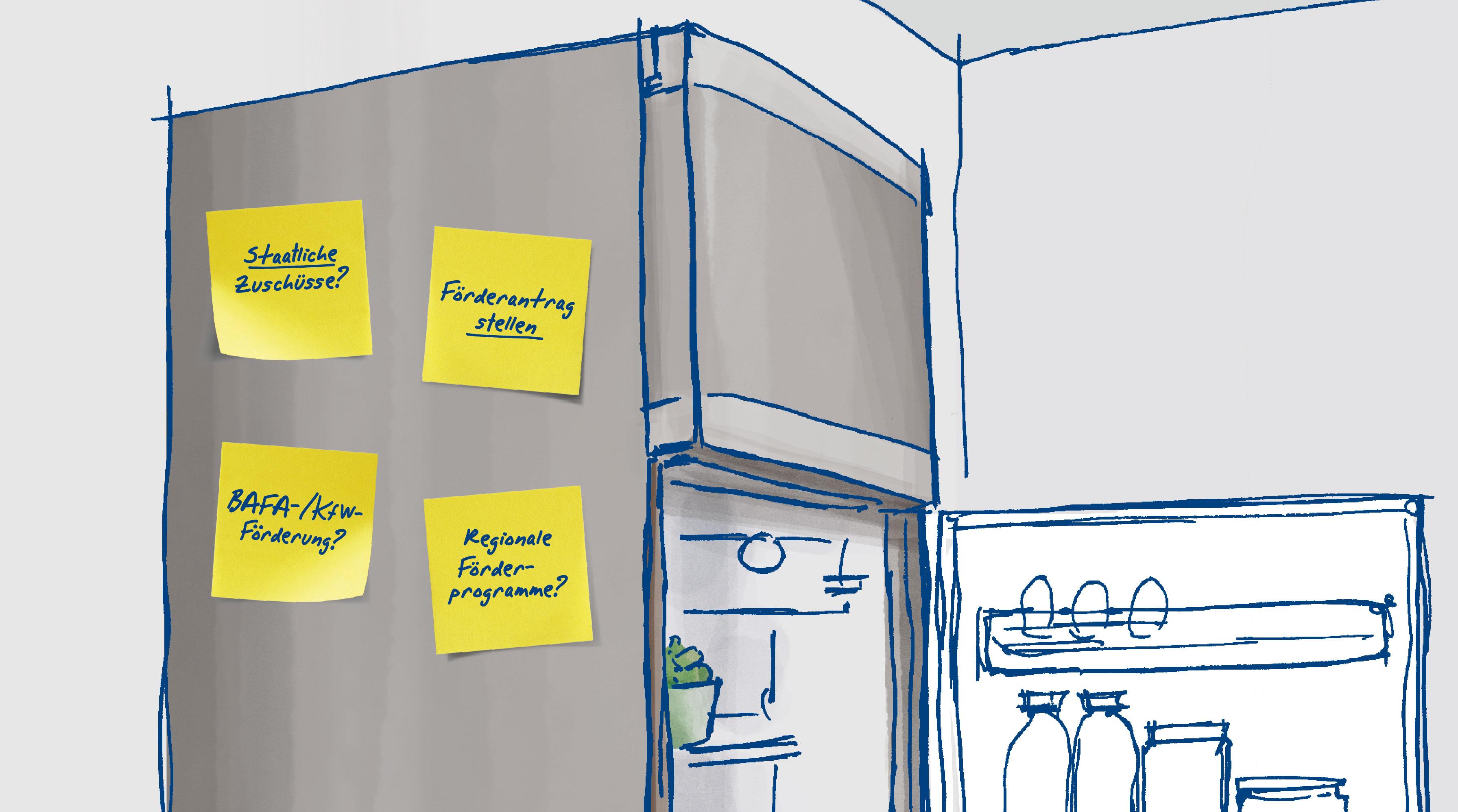 Zeichnung: Kühlschrank, an den Post-its mit Erinnerungen rund um die Heizungsförderung angeklebt sind.