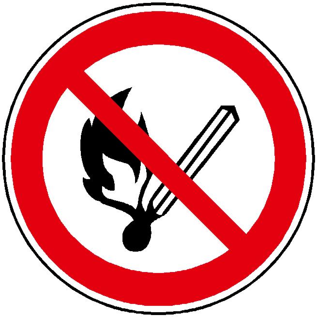 """Verbotszeichen """"Keine offene Flamme, Feuer, offene Zündquelle und Rauchen verboten"""""""