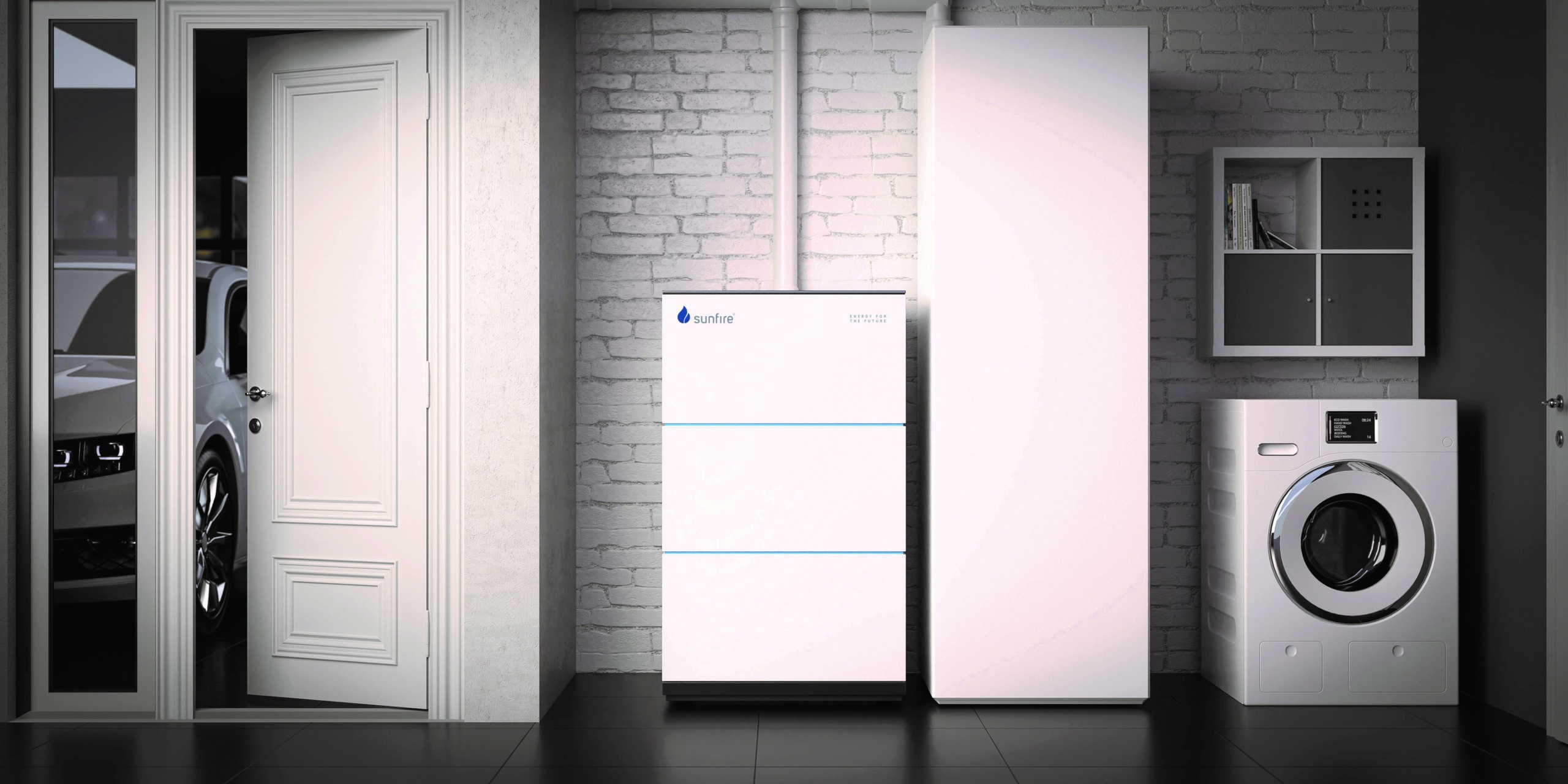 Sunfire-Home 750, die derzeit einzige in Deutschland erhältliche Flüssiggas- Brennstoffzellenheizung, in einem Einfamilienhaus.